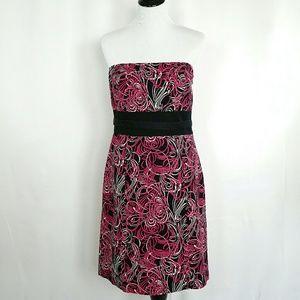 Black and hot pink flower cocktail dress LOFT